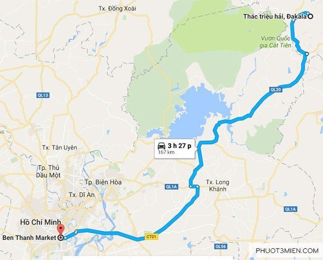 Bản đồ hướng đẫn đến Thác Triệu Hải