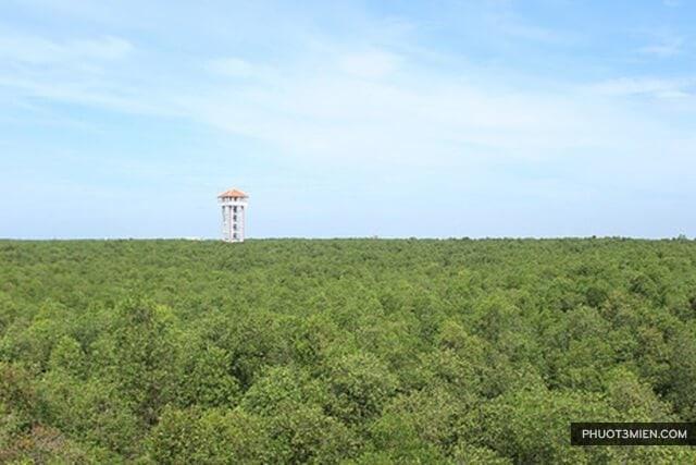 Đài quan sát bên trong Làng Nổi Tân Lập
