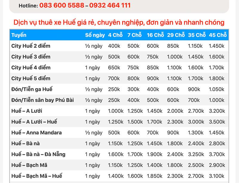 Bảng giá cho thuê xe du lịch ở Huế