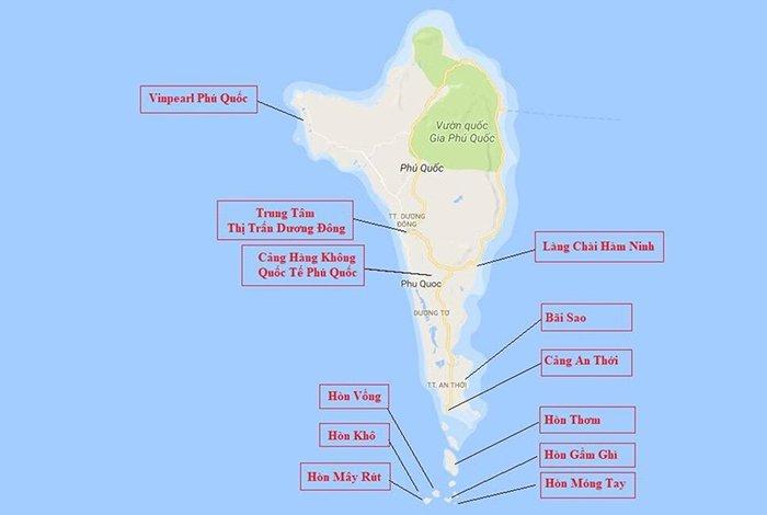 bản đồ du lịch đảo phú quốc