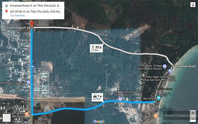 cách đi tới bãi Khem