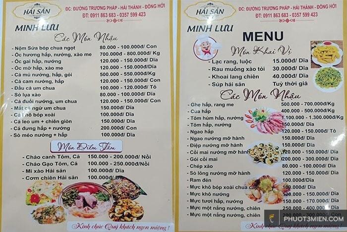 thực đơn các món hải sản