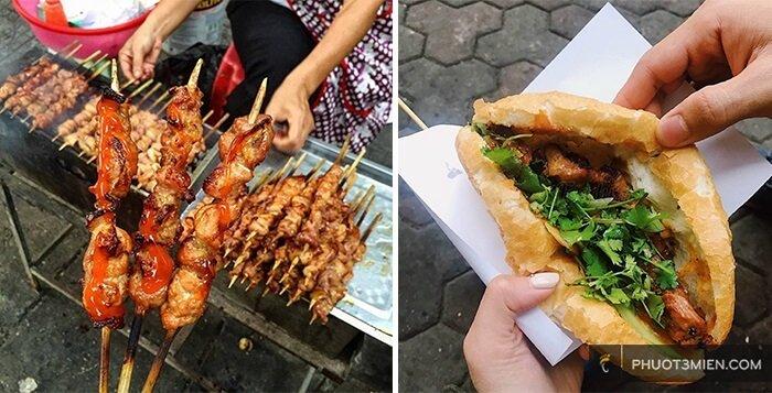 thịt xiên nướng - ăn gì ở hà nội