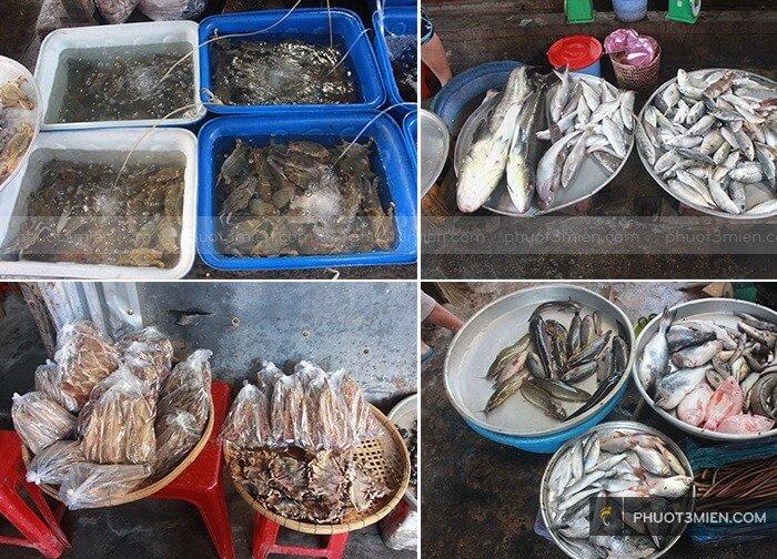 chợ bán hải sản ở hòn sơn
