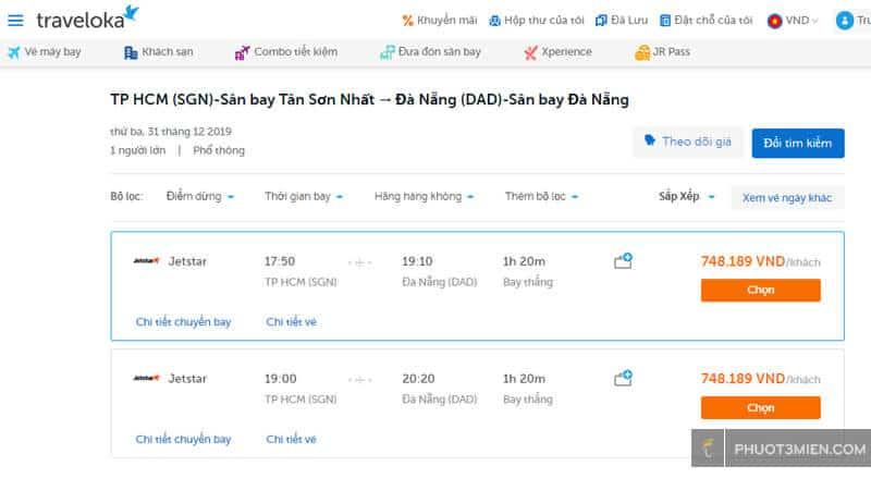 chọn giá vé máy bay trên Traveloka