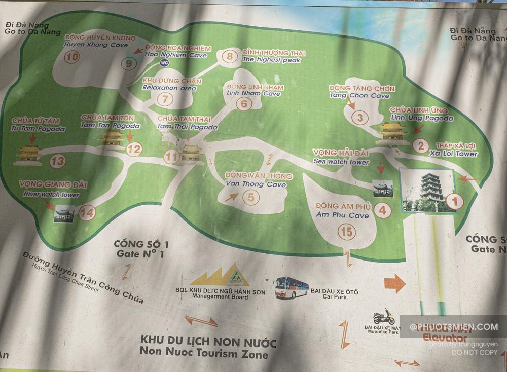 bản đồ tham quan ngũ hành sơn
