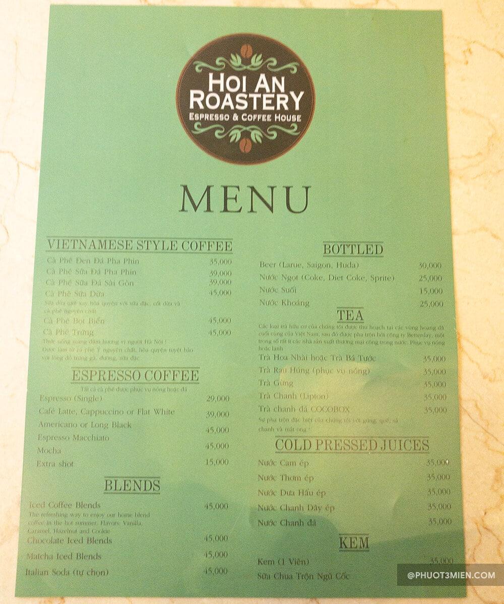 menu tại quán
