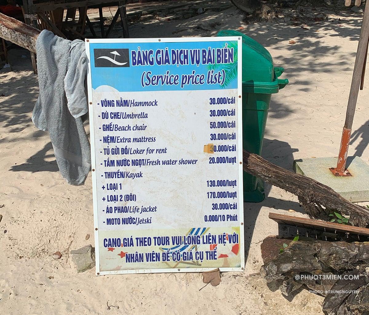bảng giá dịch vụ tại bãi sao