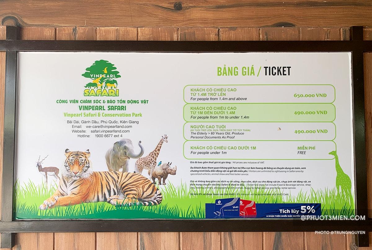 bảng giá vé tham quan safari