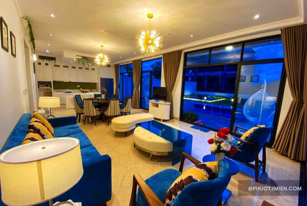phòng khách tại villa